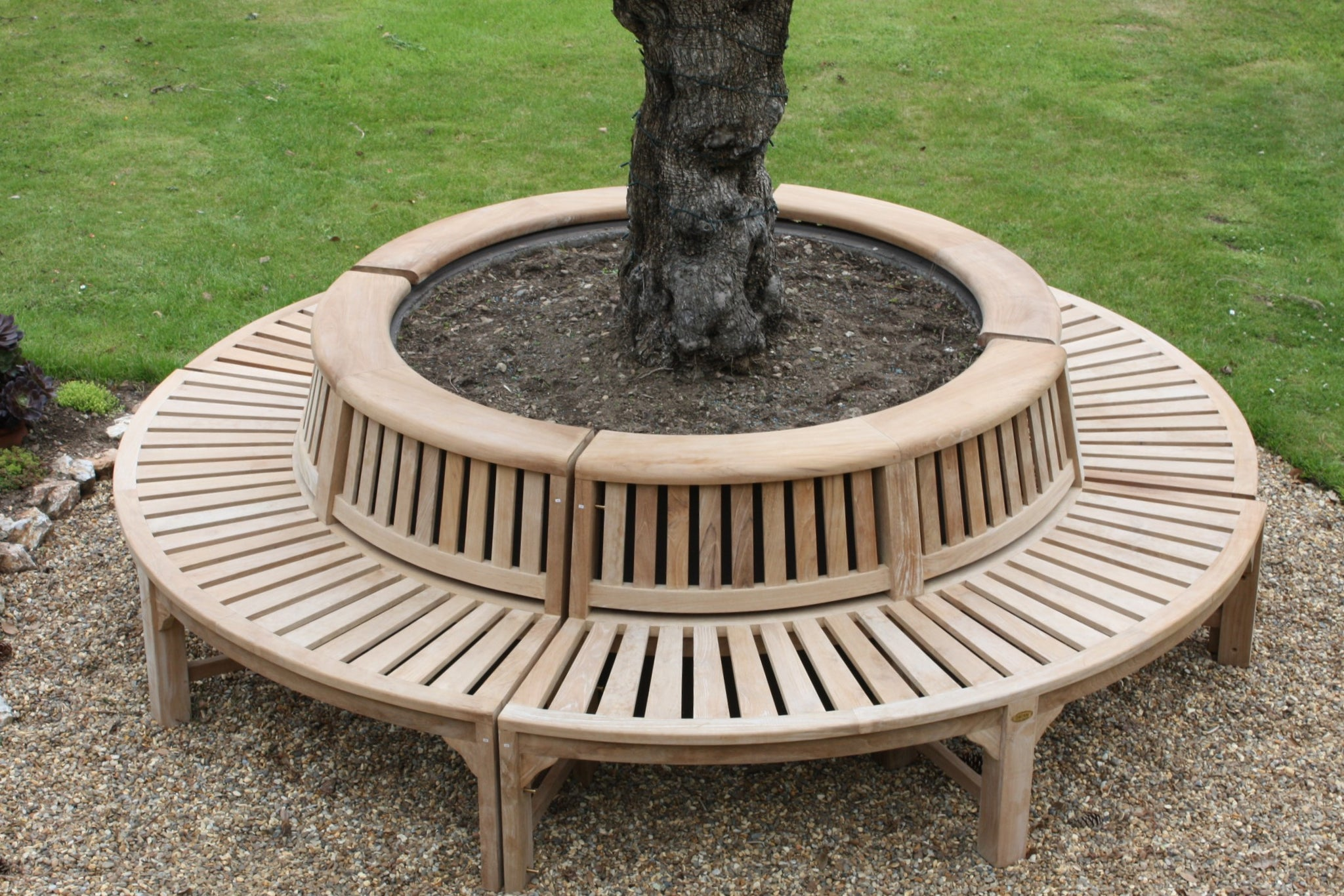Circular teak tree bench with roll top
