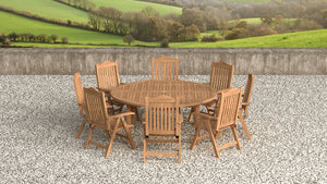 Teak Round garden dining table and reclining chair set