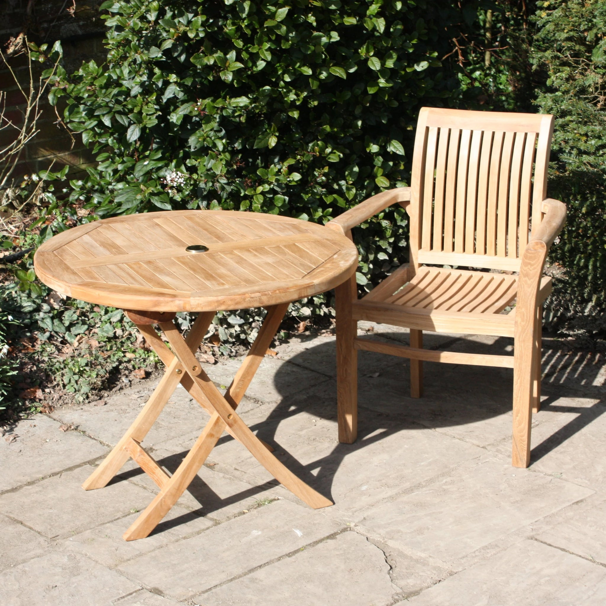 Round Folding Teak Garden Table - available in 2 sizes