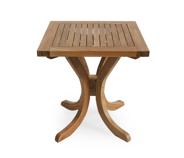 Garden teak square pedestal table