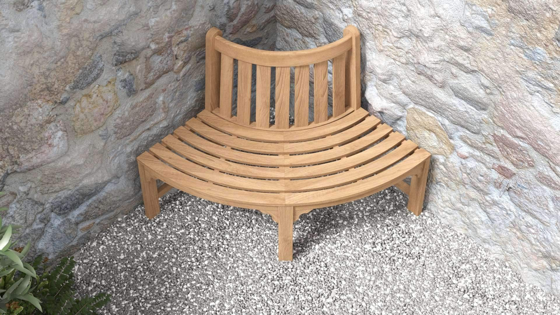 Quarter Circle Corner Bench  - Chic Teak® | Luxury Teak Furniture