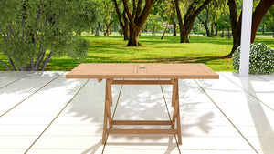 Rectangular folding teak garden and patio table