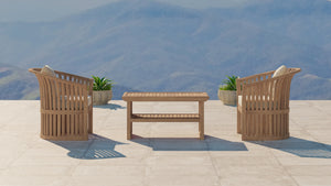 The Ascot Teak Outdoor Lounge Set 2 Chairs and Coffee Table