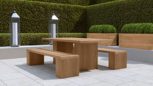 Mayfair Teak garden table and 2 bench set