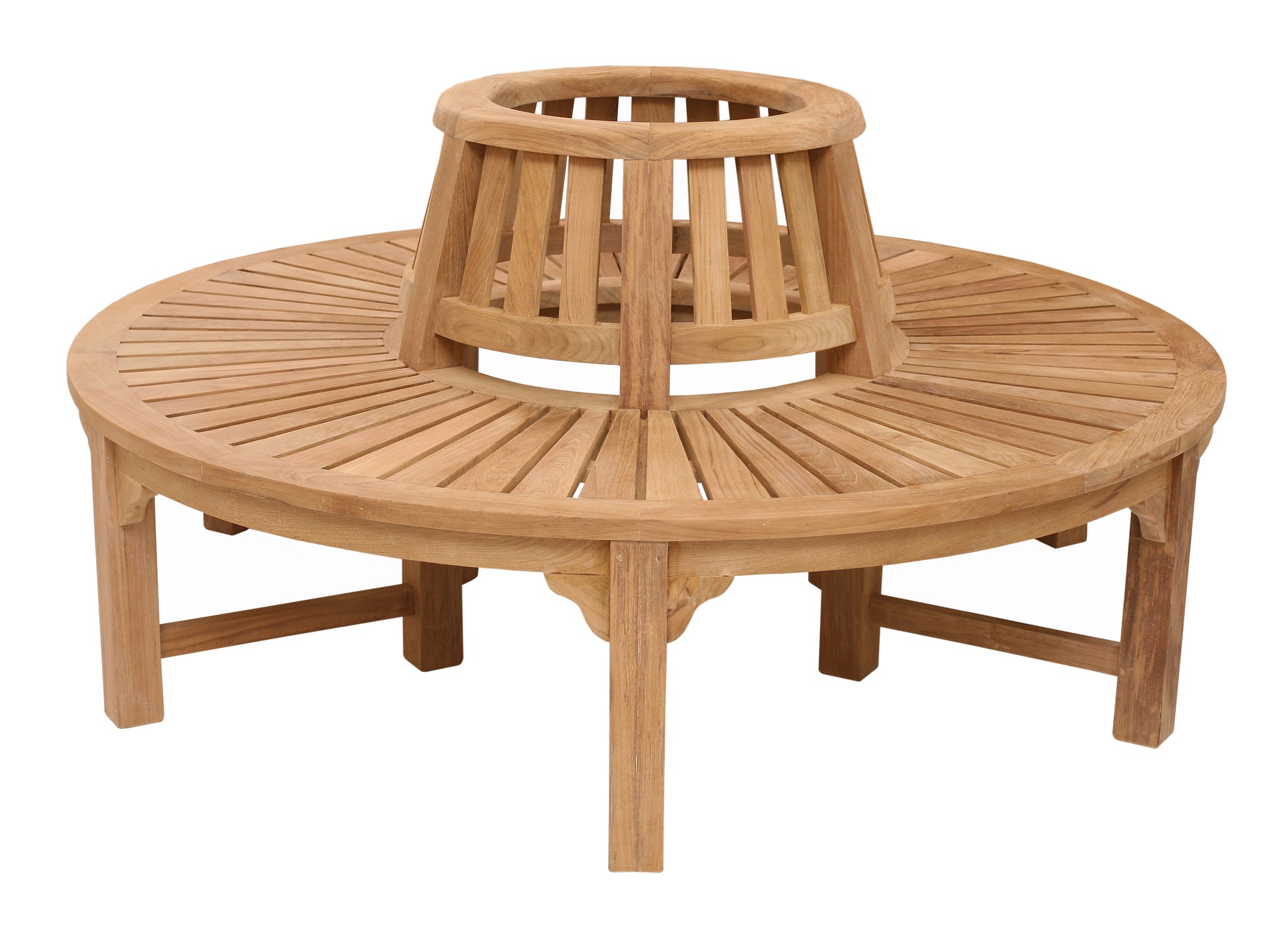 Circular teak tree bench small roll top