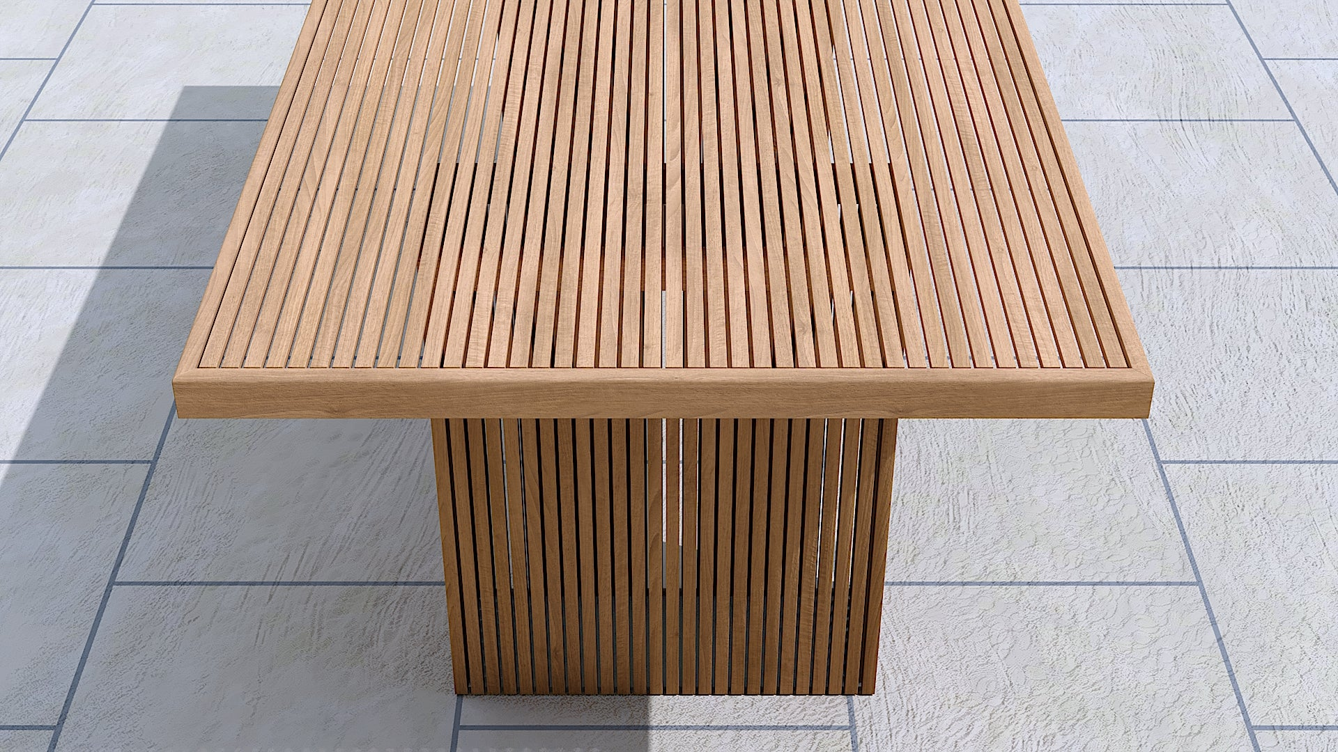 Mayfair teak table close up