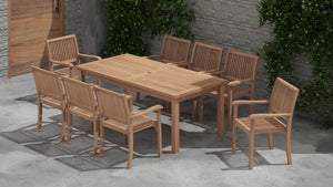Rectangular Fixed Table & 8 Guildford Carver Chair Set
