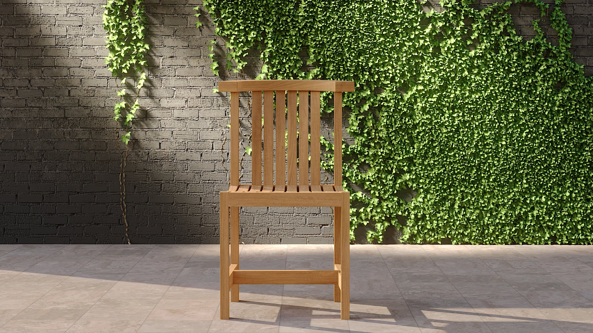Teak garden club chair without sides