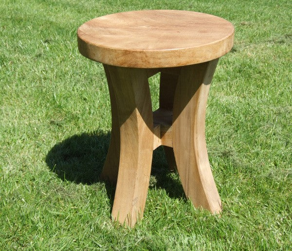 Teak Stool with Curved Legs