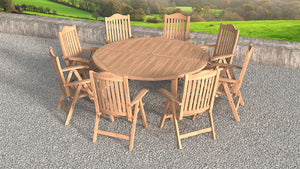 Teak Round fixed dining table and chair set top view