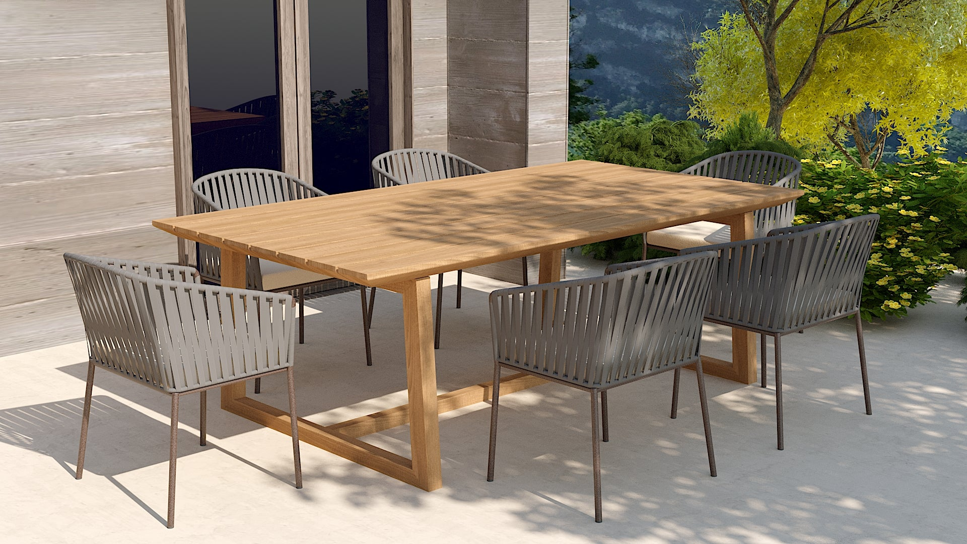 Teak garden table and chelsea chair set