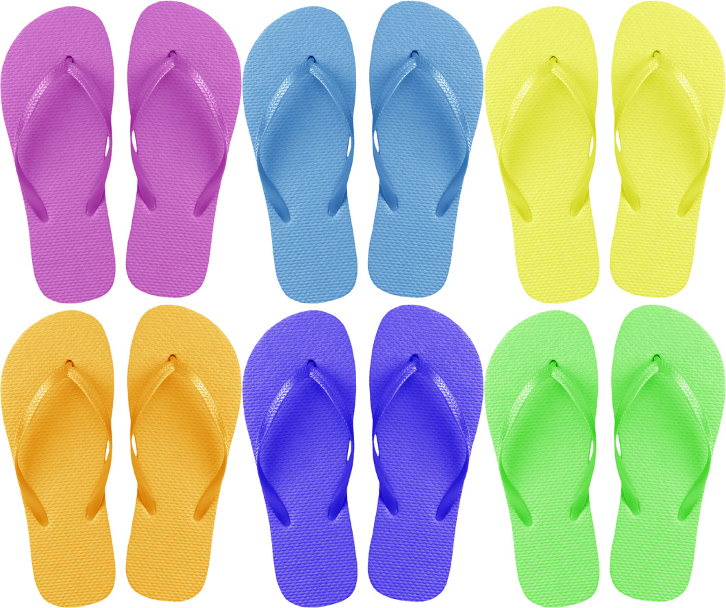 Assorted Solid Flip Flops (Case of 48 Pairs)