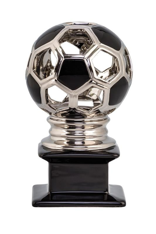 Ceramic Hollow Soccer Ball Silver and Black Trophy
