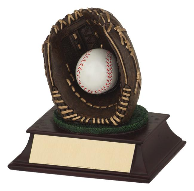 Baseball Glove & Ball Full Colour Resin Trophy
