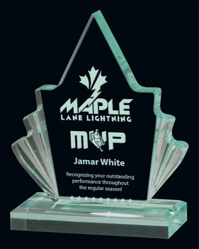 Jade Maple Leaf Acrylic Award