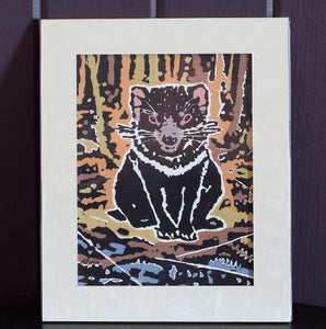 """Alone"" Tasmanian Devil - Linocut & Gouache by Daniela Selir (brown)"