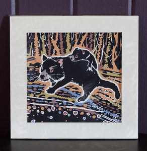 """Hitching a Ride"" Tasmanian Devil - Linocut & Gouache by Daniela Selir (brown)"