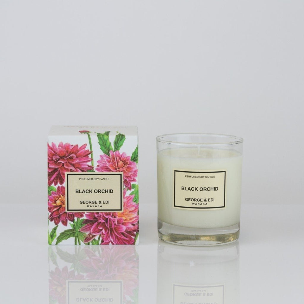 George & Edi candle black orchid fragrance NZ candle maker soy wax handpoured