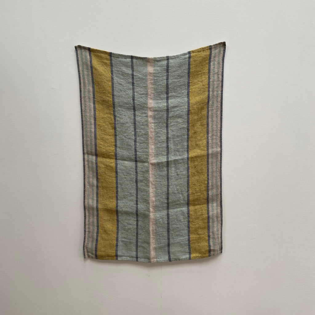 French Linen Teatowel - Mustard Grey