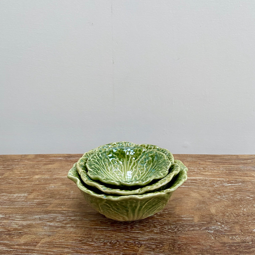 Cabbage Leaf Nesting Bowls set of 3