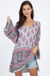 Paisley Raindrops Crepe Peasant Top