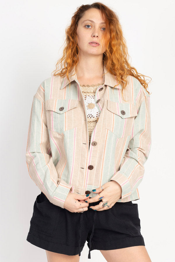 "Stripe Oversize ""Denim"" Jacket"