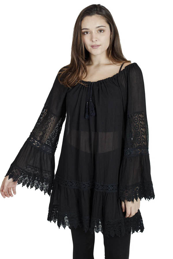 Off-the-Shoulder Lacy Peasant Cover-Up