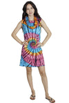 Funky Tie-Dye Cowl Neck Sleeveless Summer Dress
