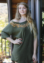 Women's Garden Wreath Off Shoulder Casual Beach Tunic Top Dress