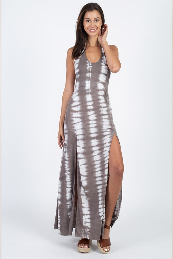 High Tide Double Slit Tie-Dye Halter Dress