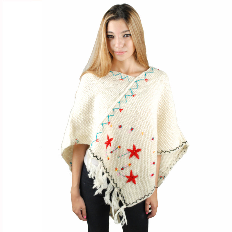 floral pancho-White-One size