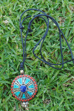 Nepal Turquoise Lapis Coral Dharma Wheel Necklace