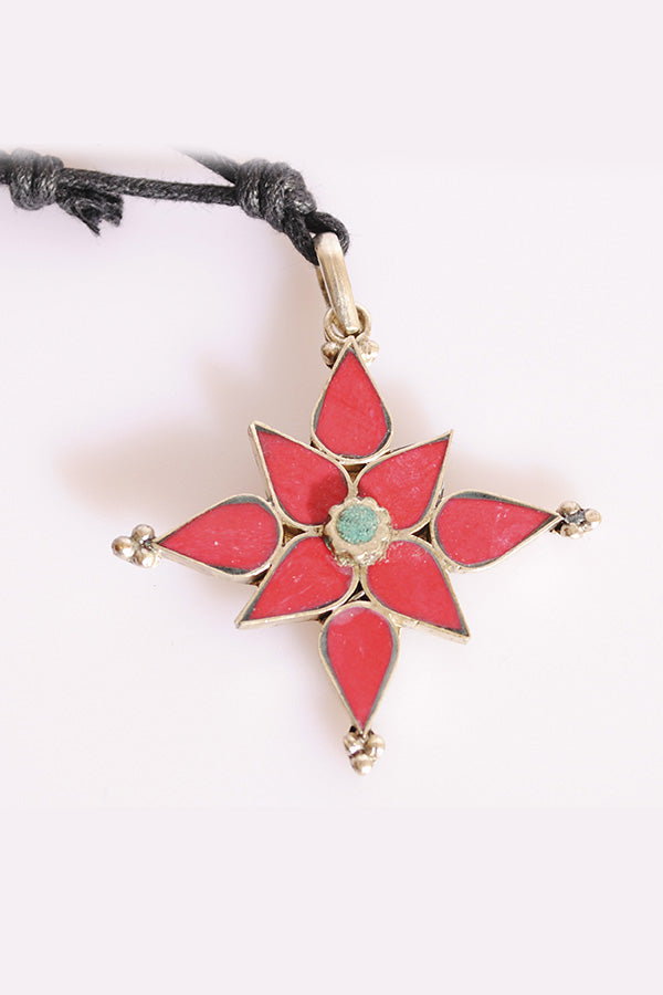 Bird's Eye View Coral Lotus Pendant