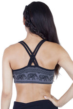 Elephant Print Organic Cotton Yoga Bra