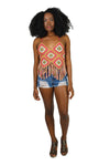 Diamond Daisy Crochet Fringe Beach Top