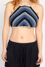 Multi Stripe Boho Crochet Halter Top