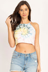 Tie-dyed Organic High Neck Crop Cami