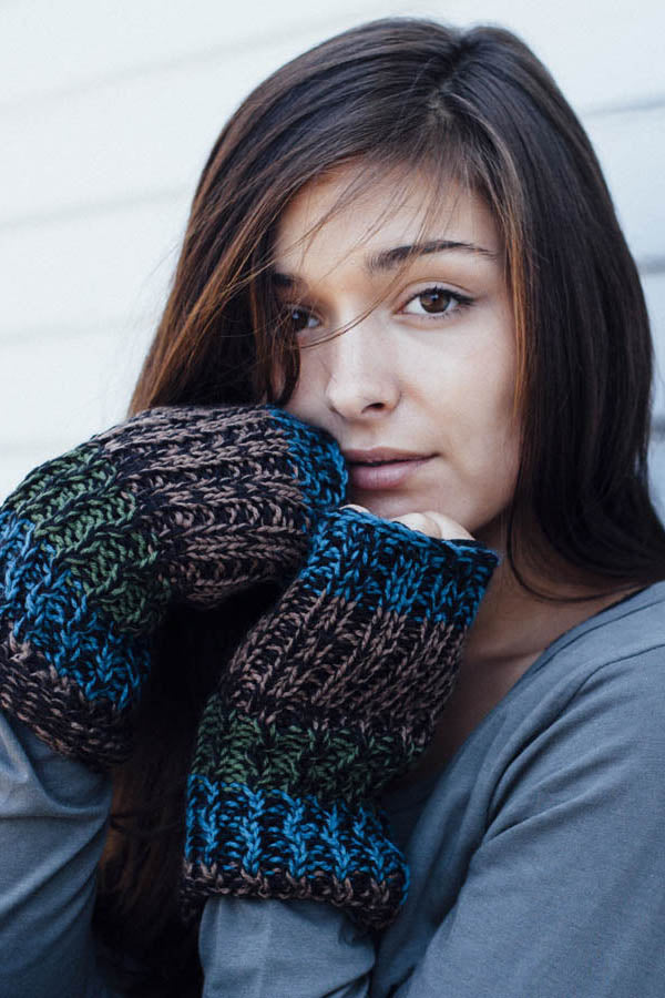 Funky Stripes Fingerless Hobo Gloves