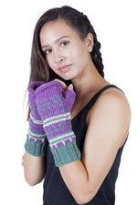 Winter hand knit woolen River Ripples Hobo Gloves
