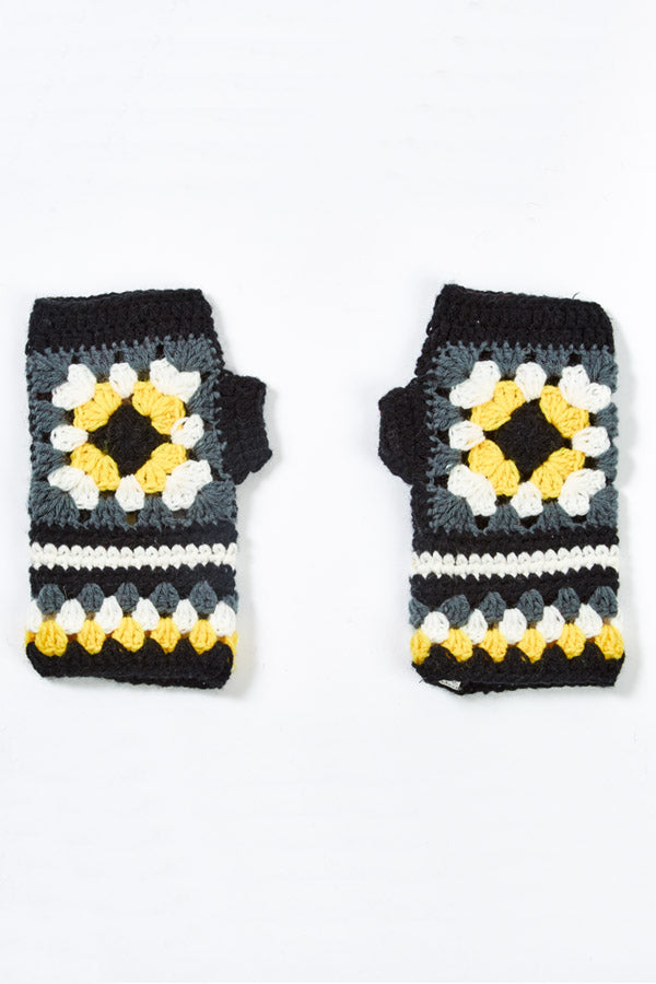 Flower Patch Crocheted Fingerless Gloves