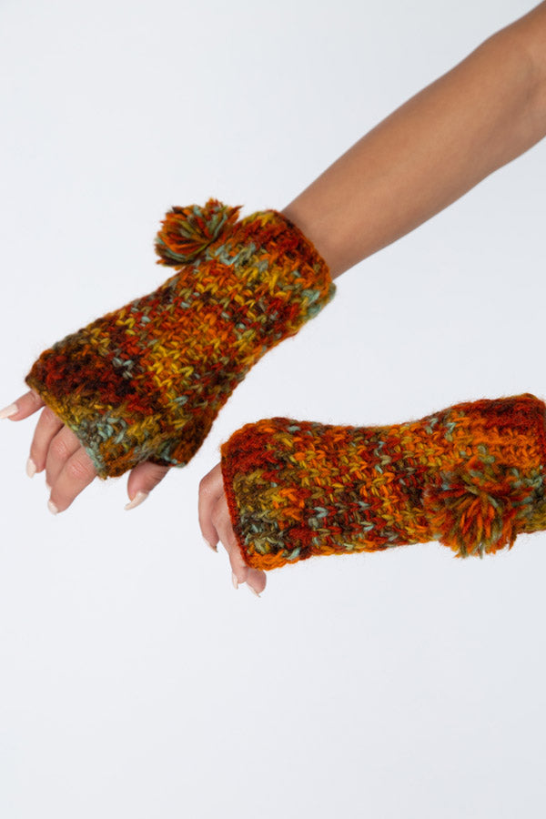 Hand Painted Pom Fingerless Gloves