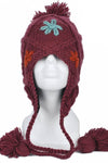 Flower knit woolen hat