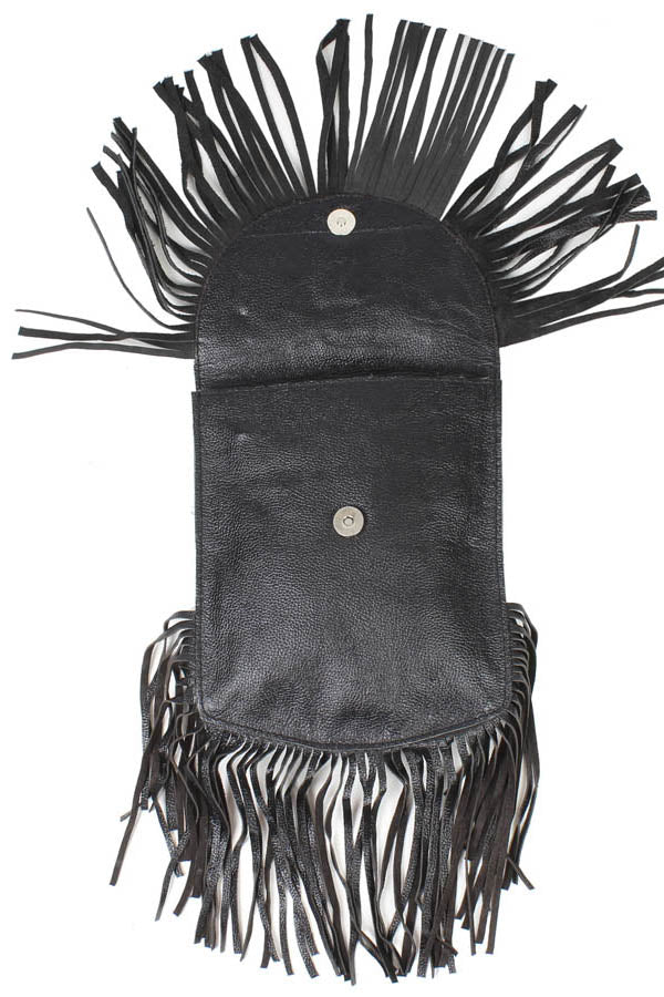 Biker's Leather Boho Fringe Fur Fanny Loop Pack Music Festival Hip Bag