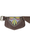 Floral Embroidery Leather Festival Belt