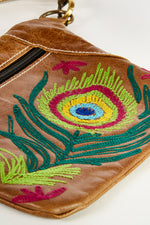 Embroidered Peacock Leather Belt Bag