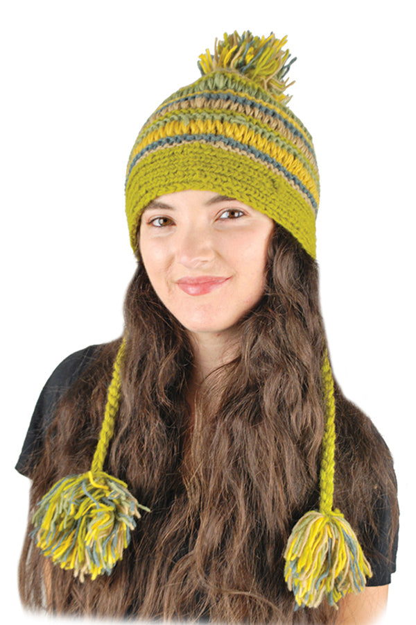 Multi stripe hat with braids