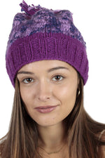 Tri-Color Cozy Beanie with Pom Pom