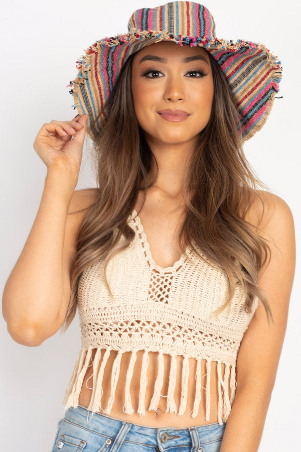 Rustic Stripe Wide Brim Shade Hat
