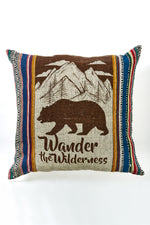 Wilderness Print Rustic Stripe Throw Pillow