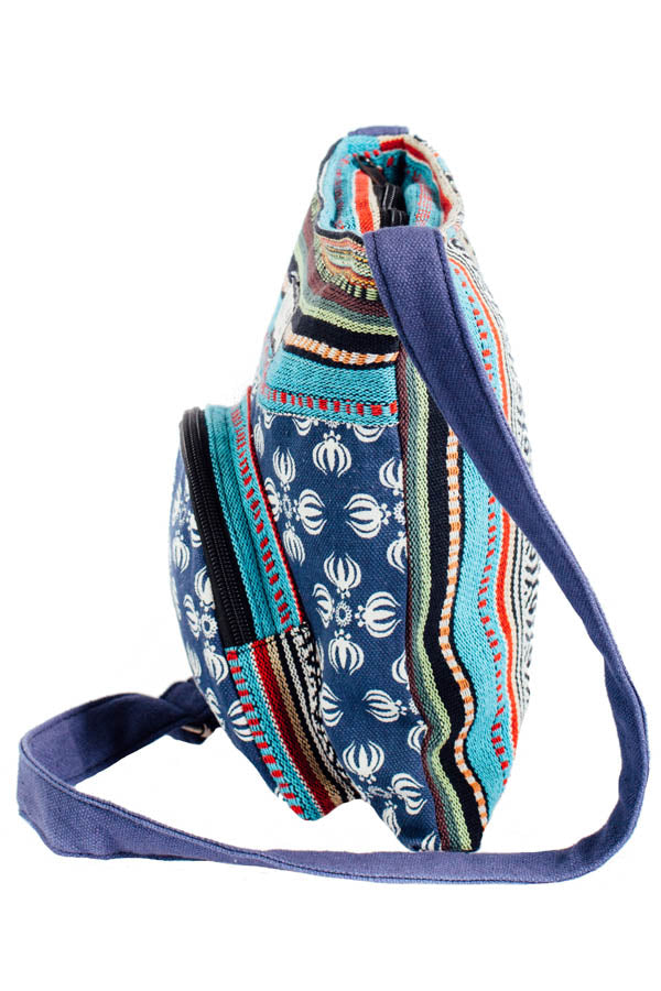 Vajra Vintage Stripe Cotton Messenger Bag-Blue-One Size
